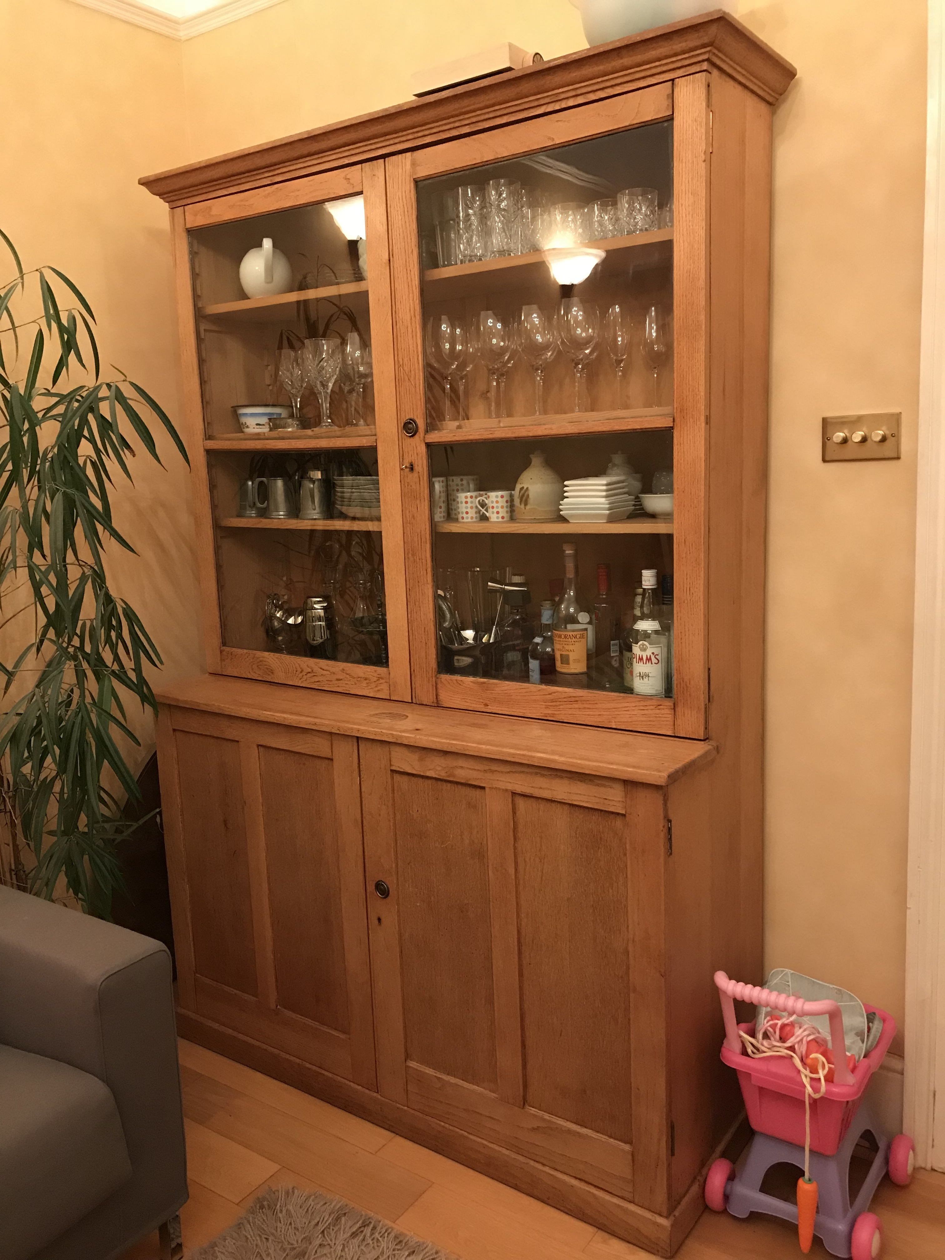 Antique Oak Glazed Dresser For